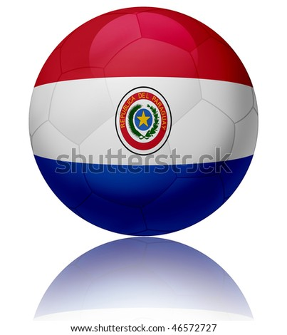 Texture of Paraguay flag on glossy soccer ball