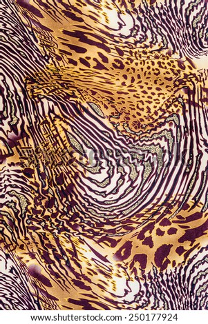 texture of print fabric striped leopard and zebra for background - stock photo