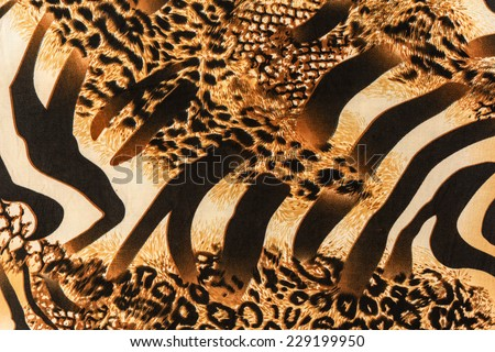 texture of print fabric striped zebra and leopard for background - stock photo