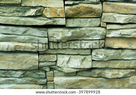 Texture of Rectangle stone wall. Green - stock photo