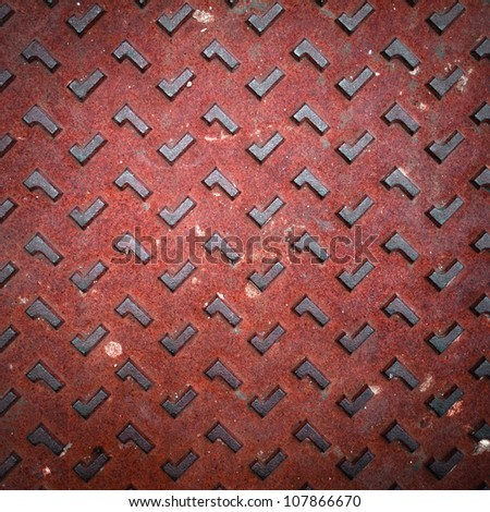 Texture of Red Grunge Rusty Steel Floor Plate for Background - stock photo