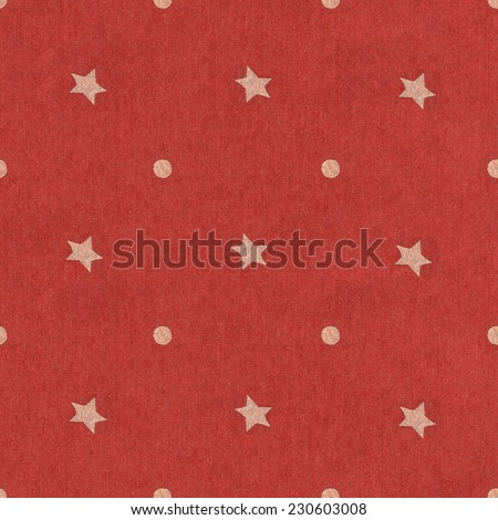 Texture of red jeans background. Seamless stars polka dot background red pattern with circles / Polka Dots star on Navy red Textured Fabric Background that is seamless and repeats.  - stock photo
