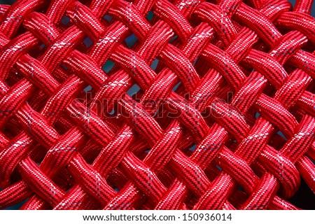 texture of red nylon rope  - stock photo