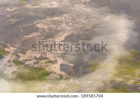 Texture of Road around Mount Bromo volcanoes in Bromo Tengger Semeru National Park, East Java, Indonesia. - stock photo