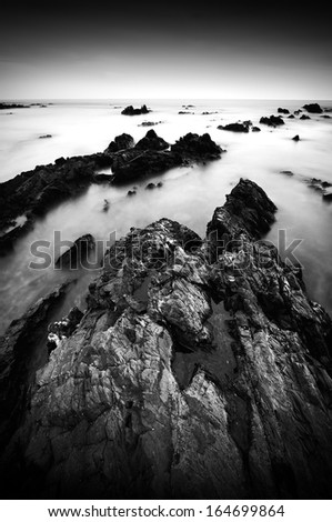 Texture Of Rock Black and White - stock photo