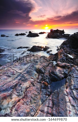 Texture Of Rock During Sunrise - stock photo
