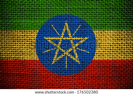 Texture of sackcloth with the image of Ethiopia Flag  - stock photo
