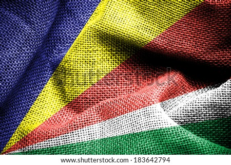 Texture of sackcloth with the image of the Seychelles Flag