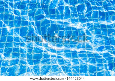 Texture of swimming pool floor trough water