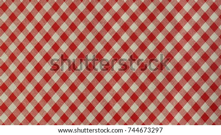 Texture of tablecloth, Checkered diagonal pattern and red tone, Cloth wallpaper background