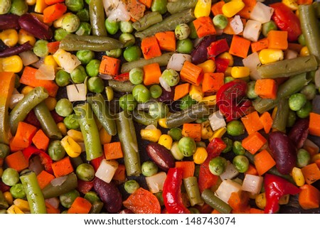 Texture of tasty fresh diced vegetables  - stock photo