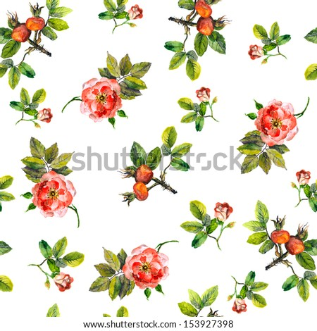 Texture of template with wild roses and brier berries