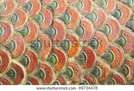 texture of Thai dragon or king of Naga statue - stock photo