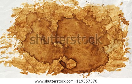 texture of the coffee stain on a white paper - stock photo