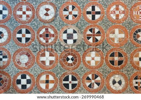 texture of the geometric tracery on the antique floor - stock photo