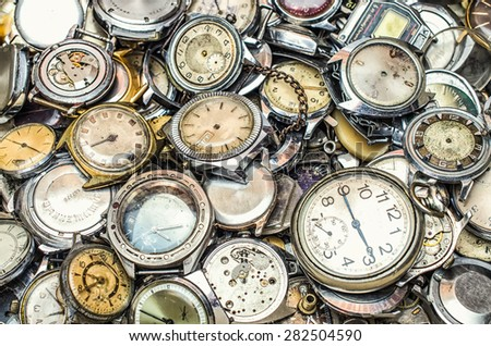 texture of the old clock,a lot of old clock - stock photo