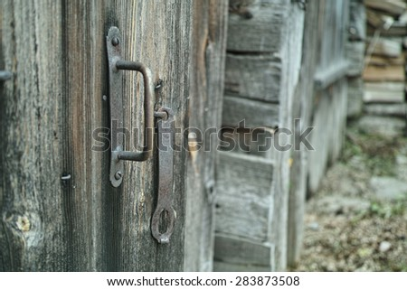 Texture of the old damaged wooden door