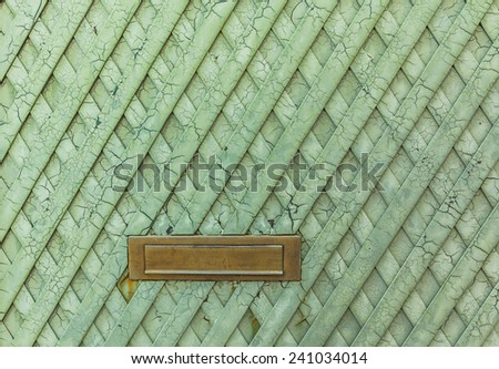 Texture of the old green metal door with cracked used for text input.