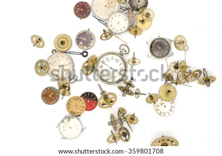 texture of the old mechanical details and clocks - stock photo