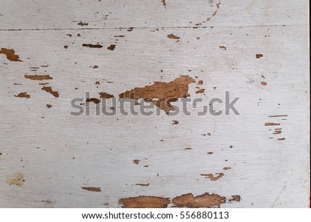 texture of the old shabby wooden board with white paint
