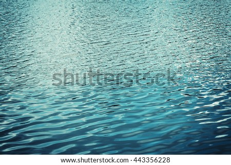 Texture of the water with waves or ripples for your background and design. Vintage turquoise color. - stock photo