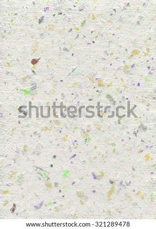 Texture of vintage recycled paper with pieces of newspapers and grains - stock photo