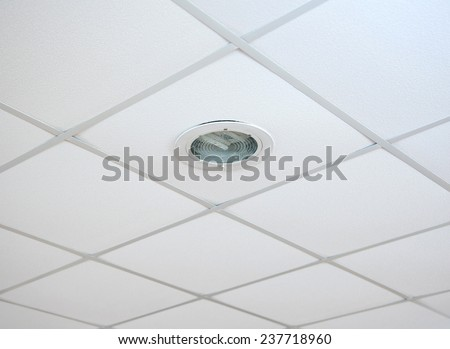 Texture of white panels for suspended ceiling. - stock photo