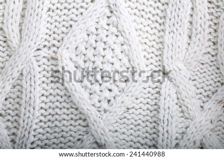 texture of white wool knit sweater homemade - stock photo