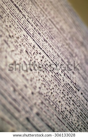 Texture of wood coated with paint. White, brown, macro, aged wooden surface. Painted wood boards fragment as a backdrop composition with a shallow depth of field. Isolated over the olive background.