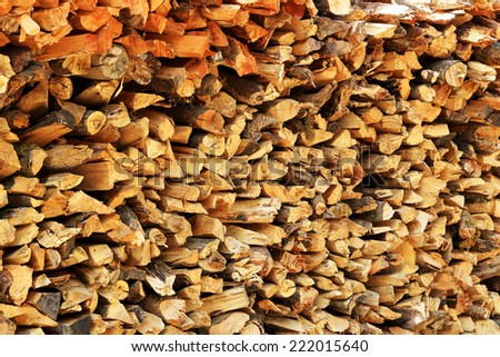 Texture of wood on the woodpile, background - stock photo
