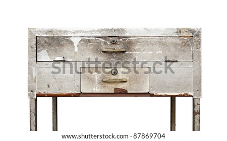texture old table on a white background, Isolated die cut - stock photo