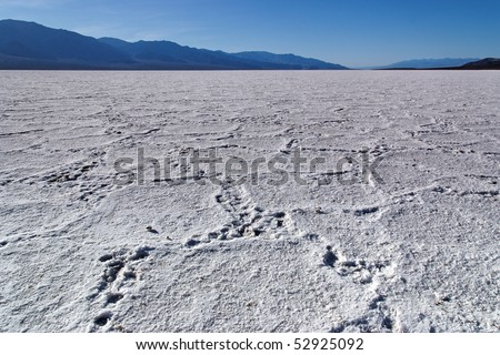 Texture on the surface of the dry salt lake Badwater basin, Death Valley, CA