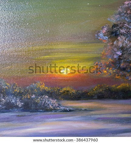 Texture painting oil painting on canvas, abstract landscape oil painting, fine art impressionism, painted color image for wallpaper and backgrounds, drawing nature painting artist - stock photo