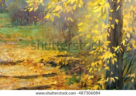 Texture, pattern, background. picture is drawn with oil paint. Autumn in the park, yellow leaves, autumn leaves steps backfilled. path in the park