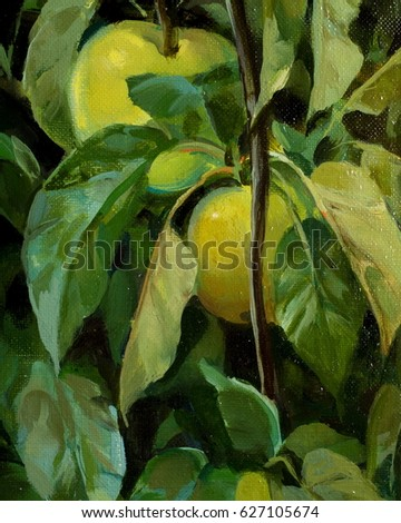 Texture, pattern, background. picture is drawn with oil paint. Green apples on a tree branch