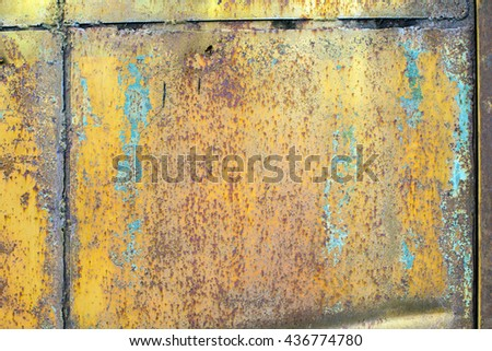 Texture rust. Rusty plate. Rusty wall. Rusty door. Texture for the design of the game. Corrosion of the metal texture. Background colorful. Old metal iron rust background. - stock photo
