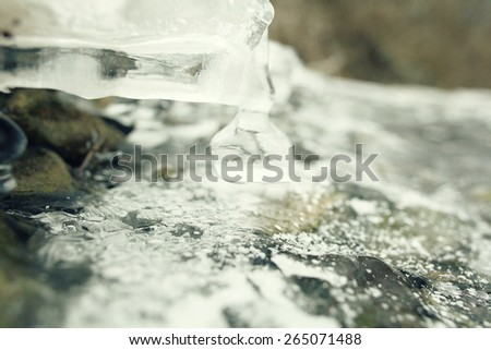 texture snow ice winter thaw - stock photo