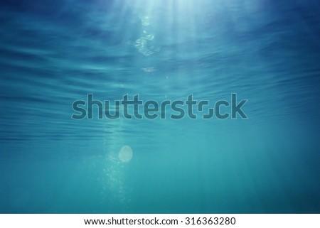 texture underwater depth of the water column - stock photo