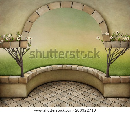 Texture vintage background with arch and trees.  - stock photo