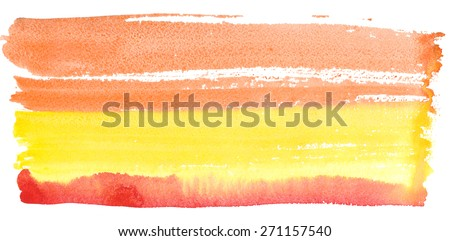 Texture watercolor smear in yellow-red tones isolated on white background - stock photo