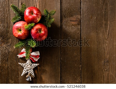 Texture with apple and Christmas decorations