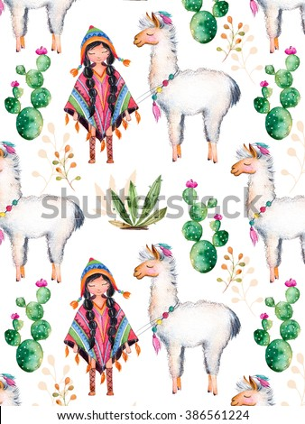 Texture with high quality hand painted watercolor elements for your design with cactus plants,flowers,cute American Indian girl in traditional poncho and her best friend-lama.For your unique creation. - stock photo