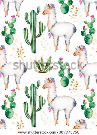 Texture with high quality hand painted watercolor elements for your design with cactus plants,flowers and lama.For your unique creation, wallpaper, background,blogs,pattern,invitations and more - stock photo