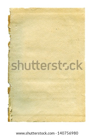 Textured aged dirty grainy paper card isolated - stock photo