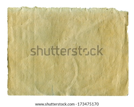Textured aged torn obsolete paper with natural fiber parts isolated - stock photo