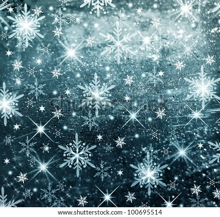 Textured and blur Christmas background with blue stars - stock photo