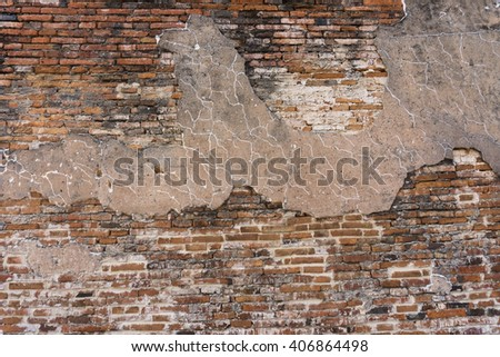 Textured background: old brickwallpaper. - stock photo