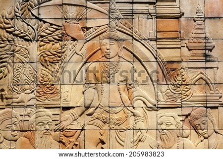 Textured background: traditional handcraft decoration of Brahmin story on the brick wall