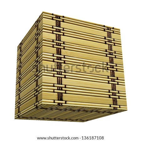 Textured bamboo cube box isolated over white - stock photo