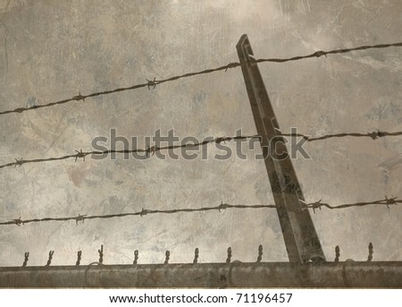 Textured Barbed Wire Fence Against a Cloudy Sky, Desaturated